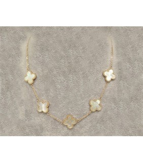 Van Cleef & Arpels Vintage Alhambra Necklace, Yellow Gold with White Mother of Pearl, 5 Motifs