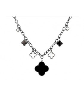 Van Cleef & Arpels Vintage Alhambra Necklace in 18kt White Gold with Black Onyx & Mother of Peral,7 motifs