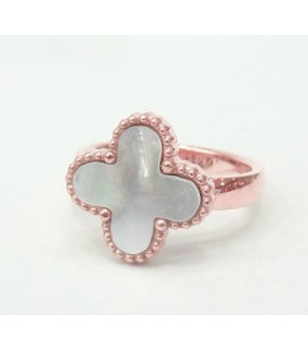 Van Cleef & Arpels Magic Alhambra Ring in Pink Gold with Smooth White Mother of Pearl