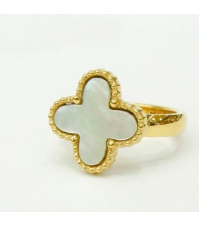 Van Cleef & Arpels Magic Alhambra Ring in Yellow Gold with Smooth White Mother of Pearl