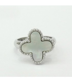 Van Cleef & Arpels Magic Alhambra Ring in White Gold with Smooth White Mother of Pearl