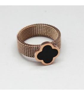 Van Cleef & Arpels Perlee Ring in Pink Gold with Black Onyx