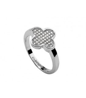 Van Cleef & Arpels Perlee Ring in 18kt White Gold with Pave Diamonds