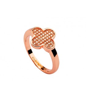 Van Cleef & Arpels Perlee Ring in 18kt Pink Gold with Pave Diamonds