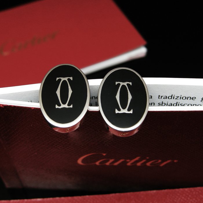 Cartier cufflinks senior black / ivory lacquer Cufflinks Men cufflinks French cufflinks