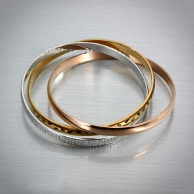 Cartier Trinity Ladies Bracelet Replica Rose Gold/Silver Low Price