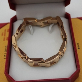 Fake Cartier Love bracelet pink gold maillon panthere wide chain band