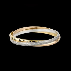 Faux Cartier Trinity Bracelet N6037916 3-Gold Lacquer Diamonds