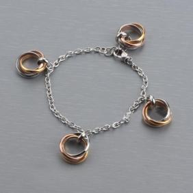 Imitation Cartier Stainless Steel Bracelet Tri-tone Trinity Silver Chain Women