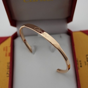 Imitation Cartier collection logo bracelet pink gold open bangle
