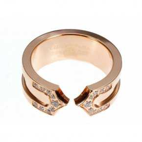 Cartier 14K Rose Gold Plated Double C Decor Ring with Diamond
