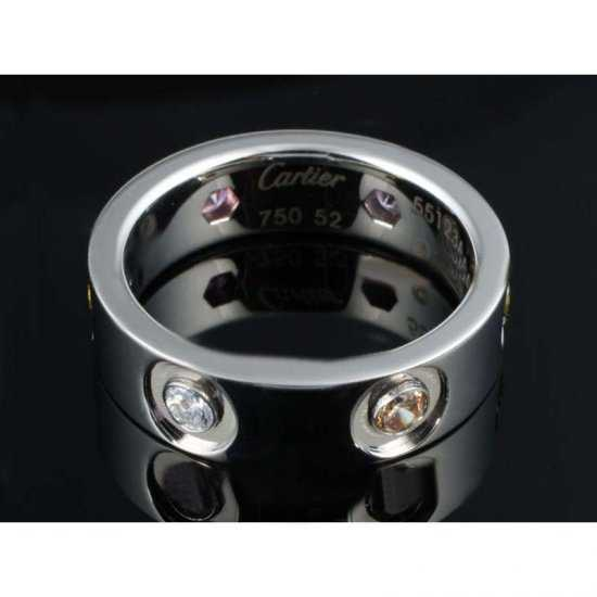 Cartier 14k White Gold Plated Love Ring with Diamonds