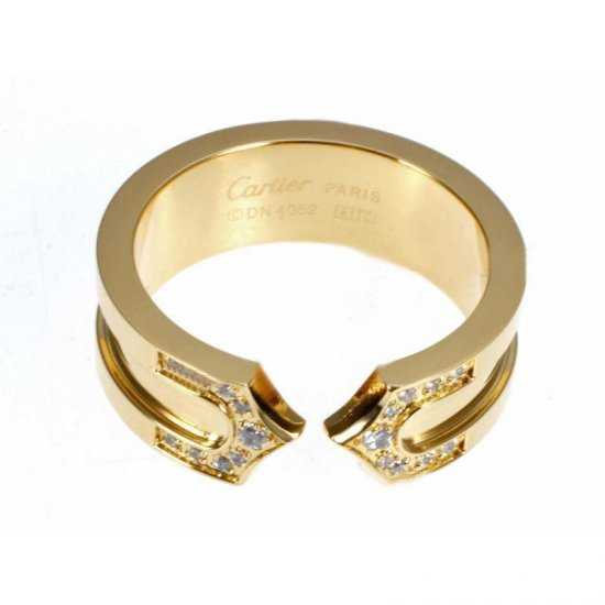 Cartier 14K Yellow Gold Plated Double C Decor Ring with Diamond