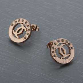 Cartier Earring in Stainless Steel with Rose Gold Plated and Dii