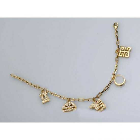 Cartier Gold Plated Bracelet With Stylish Charms Paved Diamonds