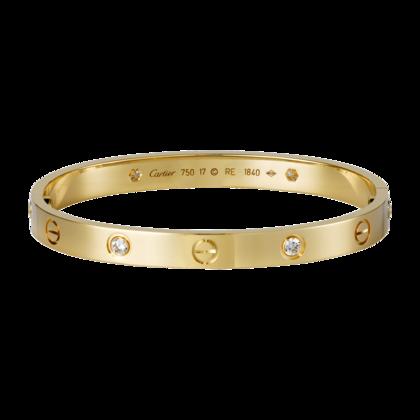 Cartier 1:1 Grade Cartier Love Bracelet in Yellow Gold Plated with Diamonds+Original Bracelet box