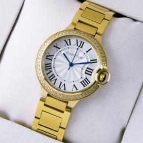 Ballon Bleu de Cartier Midsize Diamonds 18kt Yellow Gold Quartz Unisex Watches Fake