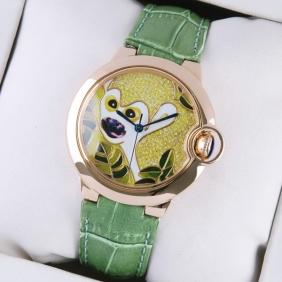 Ballon Bleu de Cartier Rose Gold Pattern Dial Green Leather Strap Unisex Watches replica