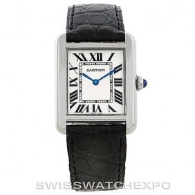 Fashion Classic Black Leather Strap Ladies Tank Solo Cartier Watch Replica