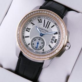 Calibre De Cartier Two-Tone Rose Gold Black Leather Diamonds Mens Watches fake