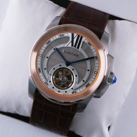 Calibre de Cartier Flying Tourbillon Two-Tone Rose Gold Silver Dial Brown Leather Mens Watches fake