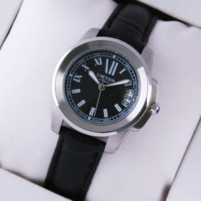 Calibre de Cartier Stainless Steel Black Dial Black Leather Ladies Watches imitation