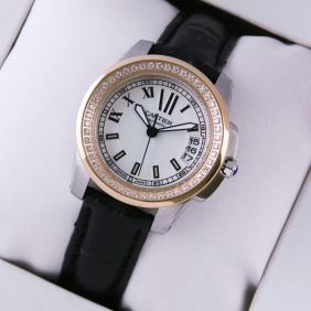 Calibre de Cartier Two-Tone Rose Gold Diamonds Silver Dial Black Leather Ladies Watches replica