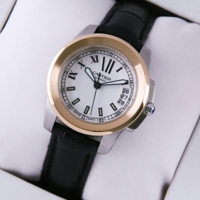 Calibre de Cartier Two-Tone Rose Gold Silver Dial Black Leather Ladies Watches fake