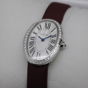Cartier Baignoire Diamonds SS Single Row Stones Bezel Swiss Quartz Ladies fake Watch