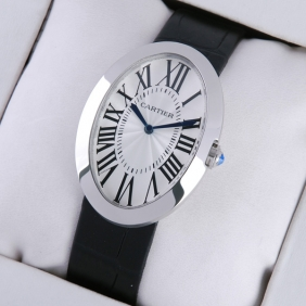 Cartier Baignoire Large Stainless Steel Leather Strap Quartz Mens Watch replica