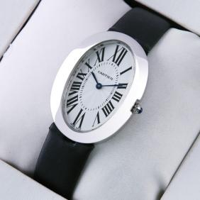 Cartier Baignoire Midsize Stainless Steel Satin Strap Quartz Unisex replica Watch