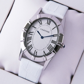Cartier Baignoire Stainless Steel White Leather Strap Large Unisex Watches