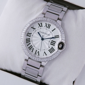 Cartier Ballon Bleu de Cartier Midsize Two Rows Diamonds Bezel Steel Unisex Watches faux