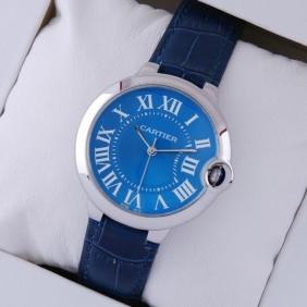 Cartier Ballon Bleu de Cartier Steel Blue Dial Leather Strap Midsize Unisex Watches cheap