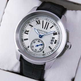 Cartier Calibre De Cartier Stainless Steel Silver Dial Mens Watches W7100037