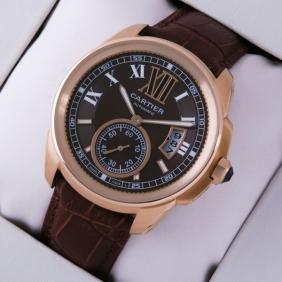 Cartier Calibre de Cartier 18k Rose Gold Brown Dial Automatic Watches W7100007