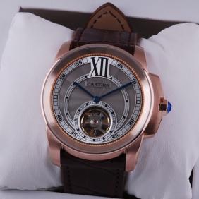 Cartier Calibre de Cartier Flying Tourbillon 18k Rose Gold Mens Watch W7100002