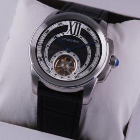 Cartier Calibre de Cartier Flying Tourbillon Black Dial Black Leather Strap Steel Mens Watches