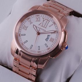 Cartier Calibre de Cartier White Dial 18k Rose Gold Mens Watches cheap
