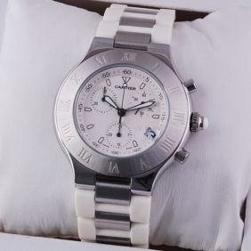 Fake Cartier Must 21 Chronograph White Rubber Band Mens Watches