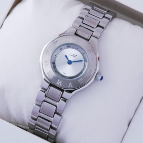 Cartier Must 21 Stainless Steel Blue Hands Small Ladies replica Watch W10109T2