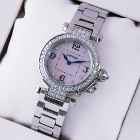 Cartier Pasha C Diamonds Stainless Steel MOP Dial Ladies Watches replica