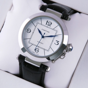 Cartier Pasha C Stainless Steel Black Leather Band Mens Watches replica