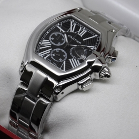 Cartier Roadster Chronograph Stainless Steel Black Dial Mens Watches faux