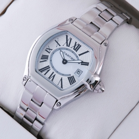 Cartier Roadster Stainless Steel Silver White Dial Ladies Replica Watches W62016V3