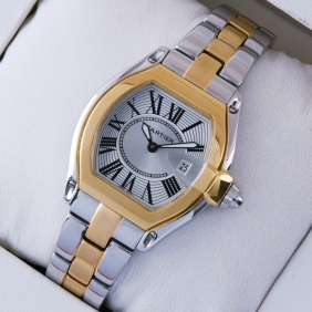 Cartier Roadster Two-tone 18K Yellow Gold and Stainless Steel Silver Dial Ladies Watches W62026Y4
