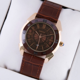 Cartier Rose Gold Brown Dial Brown Leather Strap Mens Replica Watches