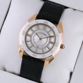 Cartier Rose Gold Diamonds Case White Dial Black Leather Strap Mens Watches faux