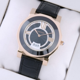 Replica Cartier Rose Gold Octangle Case Leather Strap Mens Watches