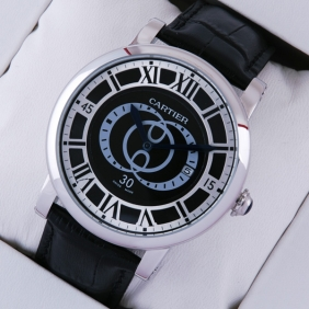 2014 Cheap Cartier Rotonde de Cartier Black Steel Large Mens Watches